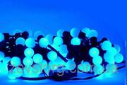 LED Гирлянда нить ШАРИКИ 10 м,  черный кабель(120 Led), синий